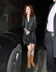 Rumer Willis left The Writer's Room in Hollywood wearing a pair of tan leather cowboy boots.