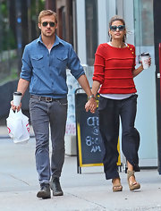 Eva Mendes took an after-lunch stroll with boyfriend, Ryan Gosling, in a pair of beige strappy espadrille sandals.