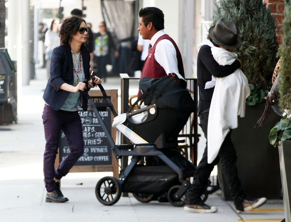 Sara Gilbert and Linda Perry Take Their Son to Lunch