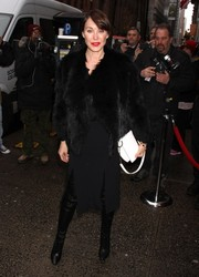 Tamara Mellon attended the Cosmo 100 luncheon looking luxe in a black fur coat.
