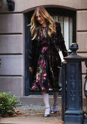 Sarah Jessica Parker sealed off her look with purple peep-toe heels from her own line.