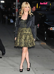 Sarah Michelle Gellar looked ready to party in this gold corset dress at the 'Letterman' show.