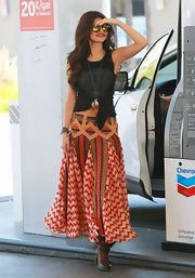 Selena wore a red chevron printed skirt for a cool boho vibe.