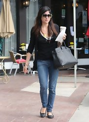 Selma Blair chose a basic black cardigan for her look while making a coffee run in LA.