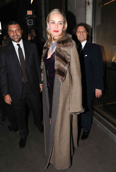 Sharon Stone Fur Coat []
