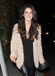 Shenae Grimes added texture to her look with a topper that more than slightly resembled a shag carpet.