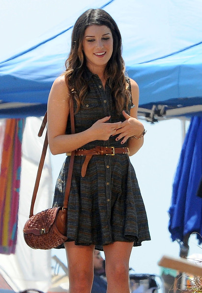 Shenae Grimes Leather Shoulder Bag