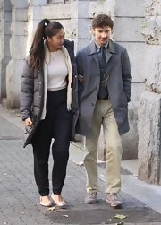 Shia LaBeouf's khakis and gray coat looked rather formal for a coffee run.