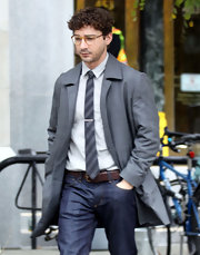 Shia LaBeouf looked just like a regular office guy in his gray coat and striped tie on the set of 'The Company You Keep.'