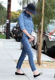 Anne Hathaway chose a polka dot button down for her daytime look while out in Venice.