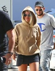 Sofia Richie kept a low profile with a pair of square shades and a hoodie while grabbing lunch in West Hollywood.
