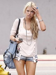 Sophie Monk showed off her large denim tote bag while out and bout in West Hollywood.