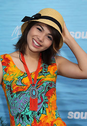 Hayley Kiyoko donned a bow-embellished straw hat for a fun summer look.