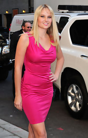 Genevieve Morton chose a sexy fuchsia cowl-neck dress for her appearance on 'Letterman.'
