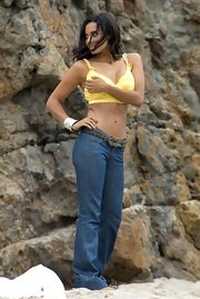 Jessica Lucas emulated the California beach vibe  while on the set of 'Melrose Place' in Malbu wearing low-rise bootcut jeans.