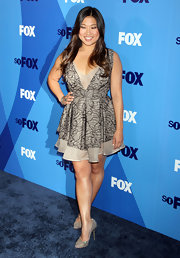 Jenna Ushkowitz sparkled at the 2011 Fox Upfront event in crystal-adorned silver pumps.