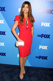 Paula looked fantastic in a red cocktail dress for the Fox Upfront event in NYC.