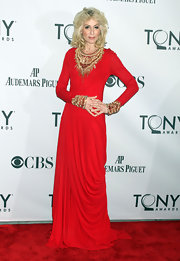 The beading embellishment on Judith Light's fiery red evening dress really turned up the drama on the red carpet.