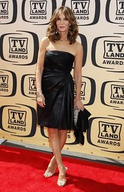 The fabulous Jaclyn Smith wore a shiny black strapless dress to the TV Land Awards that showed off her amazing body.