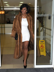 Toccara Jones left her London Hotel in a short fitted dress and a luxurious looking fur coat.