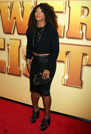 Serena Williams stepped out at the premiere of 'Tower Heist' wearing a pair of two-tone high heeled oxfords.