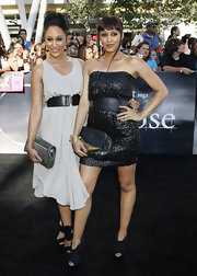 Tamera Mowry cinched her flowing dress with a wide black leather belt  at the L.A. premiere of 'The Twilight Saga: Eclipse.'