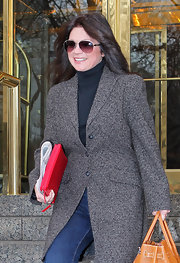 Valerie Bertinelli braved the cold of New York City in a long tweed coat.