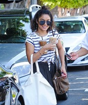 Vanessa Hudgens shielded her eyes behind a pair of Quay aviators while out in LA.