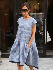 Victoria Beckham kept it laid-back in a loose blue day dress while out and about in New York City.