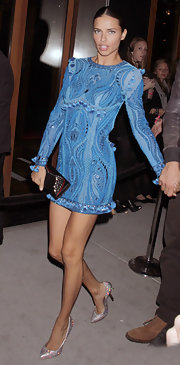 Adriana Lima stepped out at the Victoria's Secret Fashion show after-party in a blue embroidered dress with tassels and beading.