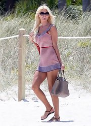 Victoria Silvstedt chose this print mini dress for her beach-cover up while out in Miami.