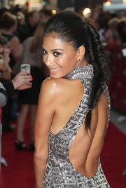 Nicole Scherzinger wore her hair in a long, fishbone braid to 'The X Factor' world premiere. Her hair was backcombed through the crown to create volume, then smoothed back into a high ponytail which was then loosely braided.