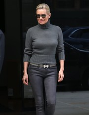 Yolanda Hadid styled her leather skinnies with a gray Hermes belt for a day out in New York City.
