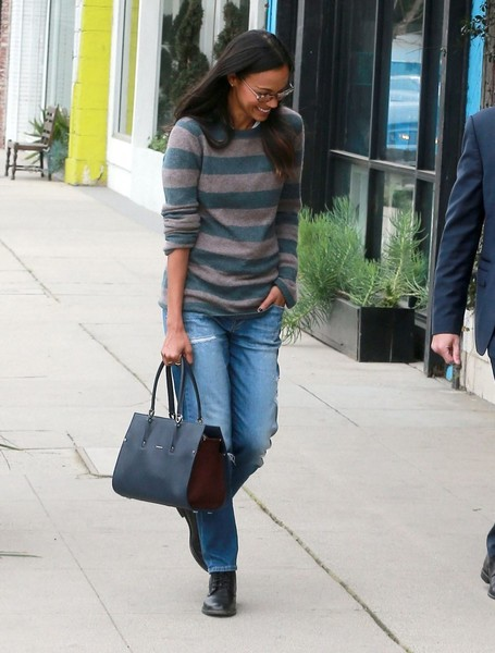 Zoe Saldana Leather Tote