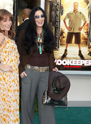 Cher accessorized with a turquoise-embellished cowboy hat when she attended the Los Angeles premiere of 'Zookeeper.'