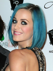 Katy Perry wore her blue classic bob sleek and straight at the opening of 1 Oak in Las Vegas.