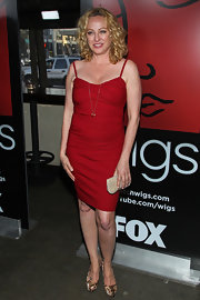 Virginia Madsen showed off her curves with this blood red cocktail dress.