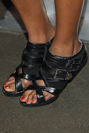 Brooklyn Lowe rocked a pair of black gladiator sandals at the WIGS event in Culver City.