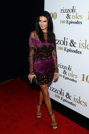 Angie Harmon looked festive in a beaded mesh-panel mini dress at the 'Rizzoli and Isles' 100 episode celebration.