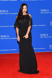 Adriana Lima showed her demure side with this black cold-shoulder gown by Bibhu Mohapatra at the White House Correspondents' Association Dinner.