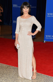Constance Zimmer donned a subtly sparkly nude gown for the White House Correspondents' Association Dinner.