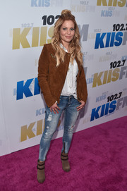 Candace Cameron Bure was casual and edgy in a brown suede jacket during KIIS FM's Wango Tango 2016.