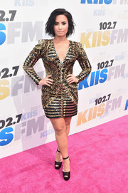 Demi Lovato went bold in a black and gold sequin dress by Balmain for KIIS FM's Wango Tango 2016.