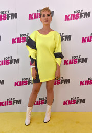 Katy Perry donned a loose yellow and black mini dress by Issey Miyake for KIIS FM's Wango Tango 2017.