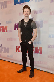 Chris Colfer dressed up his classic tee with this stylish black vest.