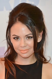 Janel Parrish rocked a retro-inspired 'do with this half up, half down teased style.