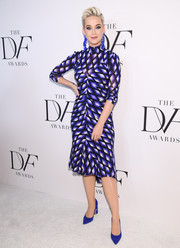 Katy Perry kept it ladylike in a purple print dress by Diane von Furstenberg at the 2019 DVF Awards.