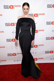 Coco Rocha made a regal entrance in a sleek, sophisticated off-the-shoulder gown by Zac Posen at the Delete Blood Cancer Gala.