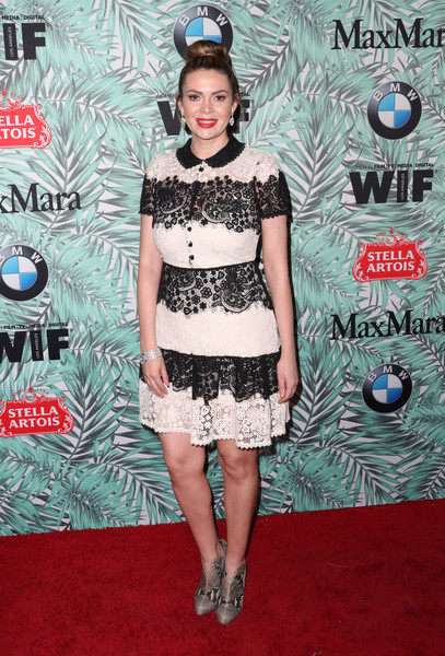 Carly Steel went ladylike in a black-and-white lace shirtdress at the Women in Film pre-Oscar cocktail party.