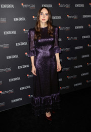 Zoe Kazan shimmered in a metallic purple gown by The Vampire's Wife at the 2018 Hamilton Behind the Camera Awards.